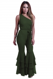 One-shoulder Flared Pant Jumpsuit