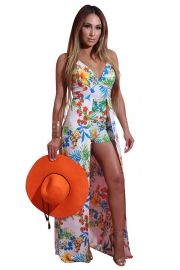 Sexy Flowers Print Backless Short Jumpsuit with Maxi Overlay