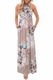 Floral Print Sleeveless Long Boho Dress