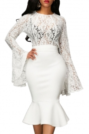 Sexy Lace Flare long sleeve and Fishtail skirt Two-piece
