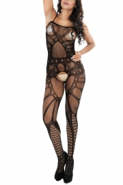 Hollow-out Pattern Open Crotch  Bodystocking