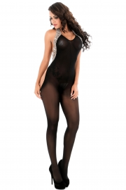 Halter Bodystocking with Leopard Print Trim