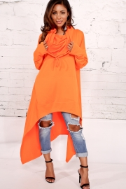 Orange Plain Drawstring Irregular Oversize Hoodie