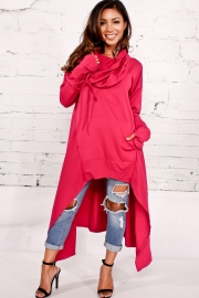 Purple Plain Drawstring Irregular Oversize Hoodie