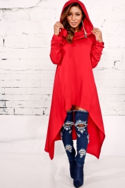 Red Plain Drawstring Irregular Oversize Hoodie
