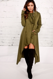 Army Green Plain Drawstring Irregular Oversize Hoodie
