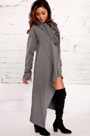 Dark Gray Plain Drawstring Irregular Oversize Hoodie