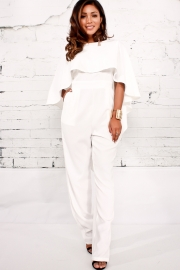 White Empire Backless Irregular Plain Jumpsuit