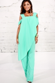 Blue Irregular Sleeve Plain Chiffon Jumpsuit
