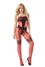 Red Sexy Sheer Backless One-piece Baby Stocking