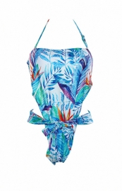 Sexy Print Strapless Bandage One-piece Swimsuit