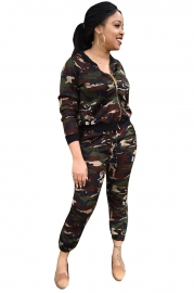 Camouflage Long Sleeve Two-piece Set
