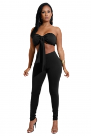 Black Strapless With A Cup Cover Two-piece Of Pantsuits