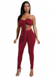Wine Red Strapless With A Cup Cover Two-piece Of Pantsuits