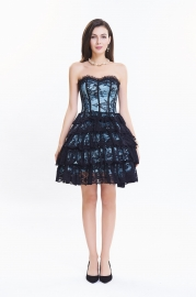 Light Blue Lace Tiered Skirt Bubble Corset Dress