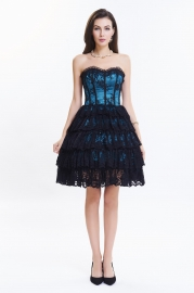 Dark Blue Lace Tiered Skirt Bubble Corset Dress