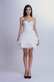 White Lace Tiered Skirt Bubble Corset Dress