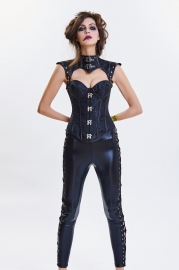 Black Retro Classic Punk Style Leather Two Sorts Corset