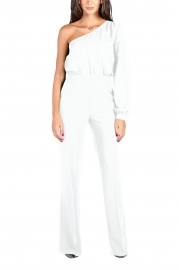 White Sexy One Shoulder Long Sleeve Wide Leg Jumpsuit