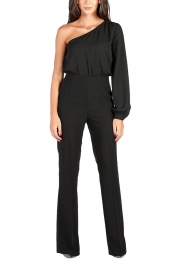 Black Sexy One Shoulder Long Sleeve Wide Leg Jumpsuit