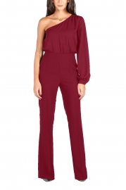 Wine Red Sexy One Shoulder Long Sleeve Wide Leg Jumpsuit