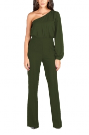 Army Green Sexy One Shoulder Long Sleeve Wide Leg Jumpsuit