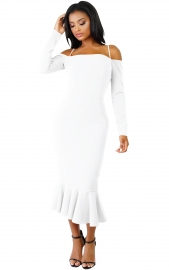 White Off-shoulder Hammock Long Sleeve Mermaid Ruffle Dress
