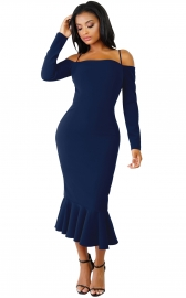 Royalblue Off-shoulder Hammock Long Sleeve Mermaid Ruffle Dress