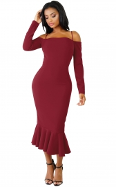 Wine Red Off-shoulder Hammock Long Sleeve Mermaid Ruffle Dress