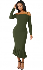 Army Green Off-shoulder Hammock Long Sleeve Mermaid Ruffle Dress