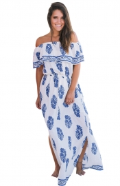 Blue Flower Print Off Shoulder Long Boho Dress