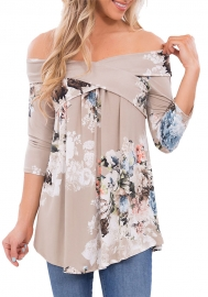 Brown  Floral Off Shoulder Crisscross Top