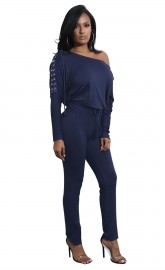 Royalblue Slanted One Shoulder Jumpsuit