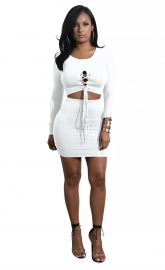 White Solid Strappy Long Sleeve Two-piece Dress