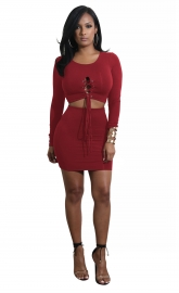 Wine Red Solid Strappy Long Sleeve Two-piece Dress