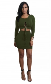 Army Green Solid Strappy Long Sleeve Two-piece Dress