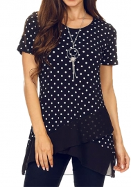 Dot Patchwork Irregular Top