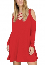 Red Hollow V-Neck Long Sleeve Pocket Full Cotton Dress