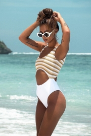 Printed Striped Sexy Cut-out One-Piece Swimsuit