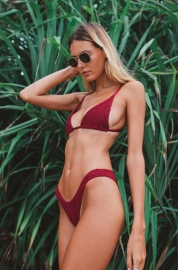 Solid Pleating Two-piece Swimsuit