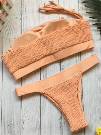 Sexy Pleating Strapless Two-piece Swimsuit