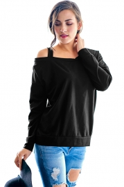 Black One Shoulder Long Sleeve Top