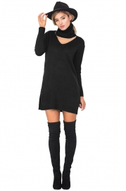 Personality Hang Neck Slim Sweater Dress
