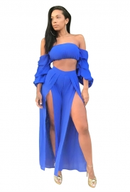 Light Blue Sexy Strapless Long Sleeve Slit Jumpsuit Two-piece Suit