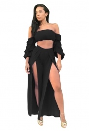 Black Sexy Strapless Long Sleeve Slit Jumpsuit Two-piece Suit