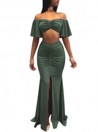 Ruffle Off Shoulder Slim Two-Piece Evening Dress