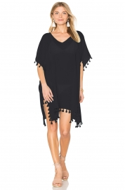 Pom Pom Tassel Hem Gauze Cover up Dress