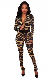 Sexy Deep V Neck Gold Chain Print Skinny Jumpsuit
