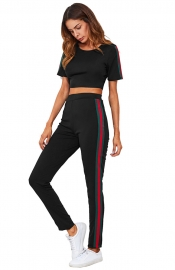 Fashion Stripe Splicing Short Sleeve Sport Pant Set