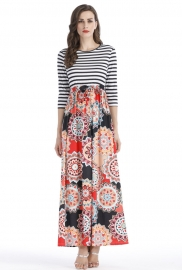 Floral Skirt Maxi Dress with Tie Waist